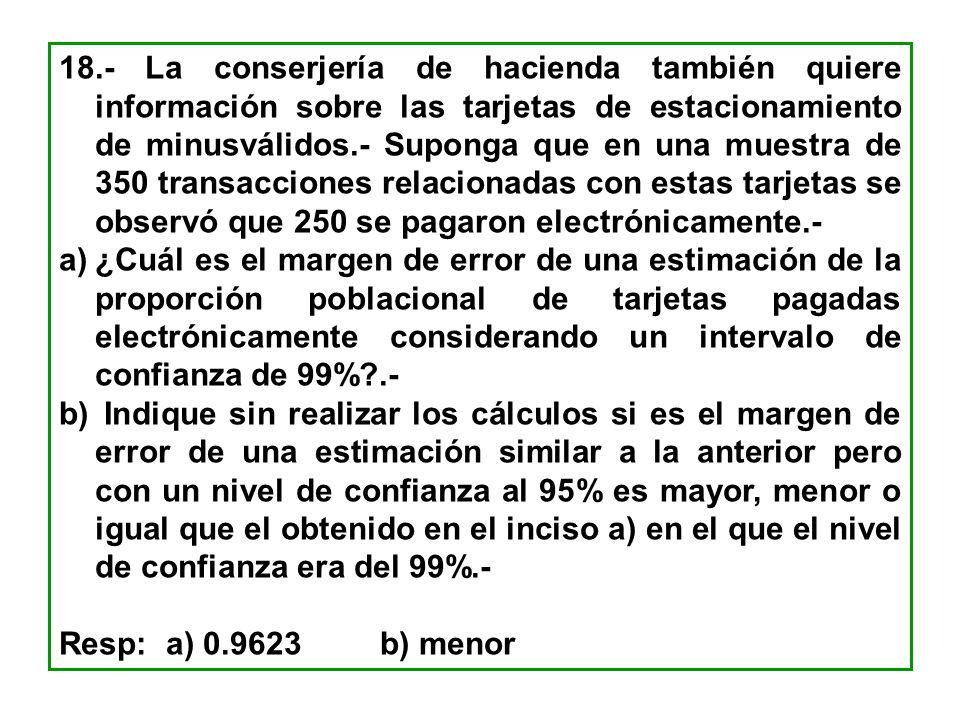 18.- La conserjería de hacienda también quiere información sobre las tarjetas de estacionamiento de minusválidos.- Suponga que en una muestra de 350 t