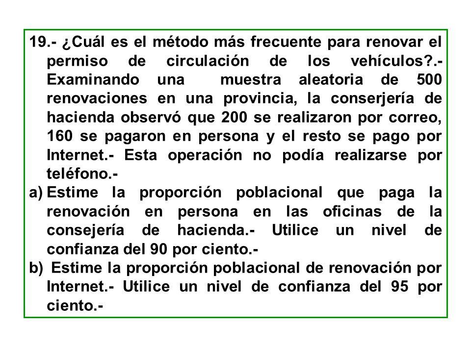 19.- ¿Cuál es el método más frecuente para renovar el permiso de circulación de los vehículos?.- Examinando una muestra aleatoria de 500 renovaciones