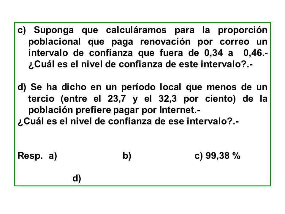 c) Suponga que calculáramos para la proporción poblacional que paga renovación por correo un intervalo de confianza que fuera de 0,34 a 0,46.- ¿Cuál e