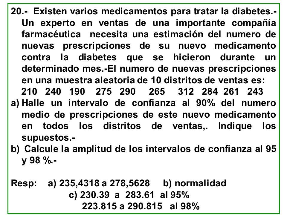 20.- Existen varios medicamentos para tratar la diabetes.- Un experto en ventas de una importante compañía farmacéutica necesita una estimación del nu