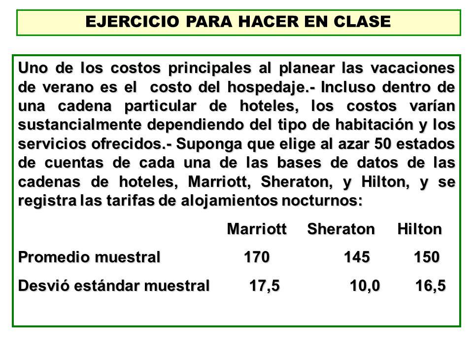 EJERCICIO PARA HACER EN CLASE Uno de los costos principales al planear las vacaciones de verano es el costo del hospedaje.- Incluso dentro de una cade