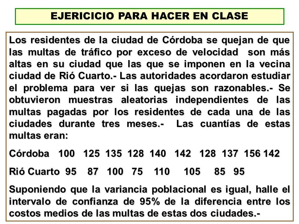 EJERICICIO PARA HACER EN CLASE Los residentes de la ciudad de Córdoba se quejan de que las multas de tráfico por exceso de velocidad son más altas en