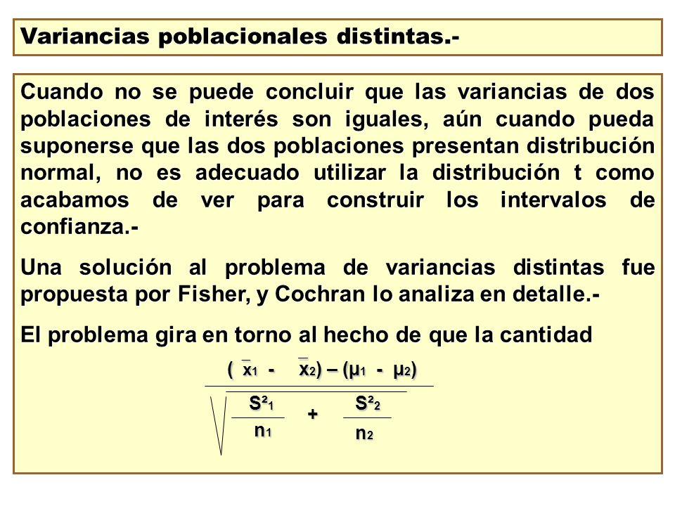 Variancias poblacionales distintas.- Cuando no se puede concluir que las variancias de dos poblaciones de interés son iguales, aún cuando pueda supone
