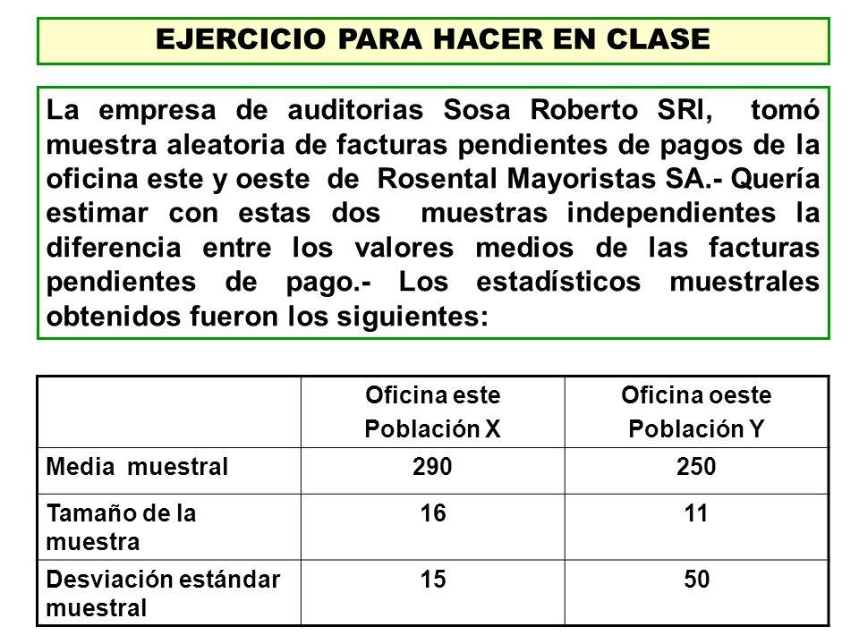 EJERCICIO PARA HACER EN CLASE La empresa de auditorias Sosa Roberto SRl, tomó muestra aleatoria de facturas pendientes de pagos de la oficina este y o
