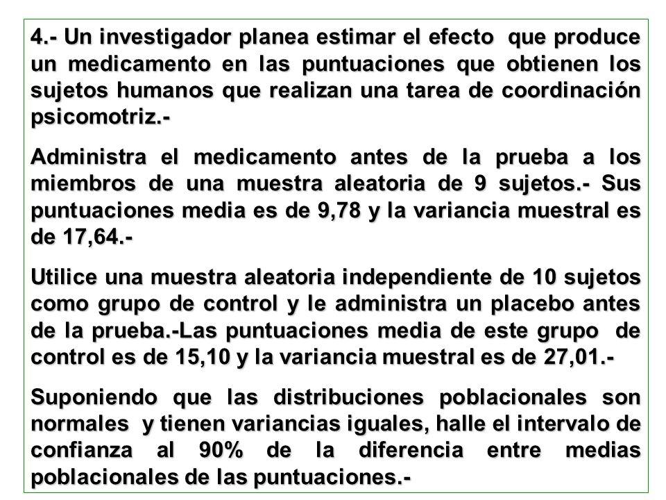 4.- Un investigador planea estimar el efecto que produce un medicamento en las puntuaciones que obtienen los sujetos humanos que realizan una tarea de
