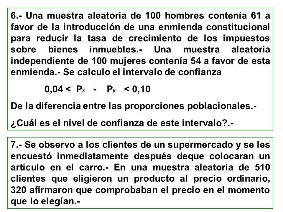 6.- Una muestra aleatoria de 100 hombres contenía 61 a favor de la introducción de una enmienda constitucional para reducir la tasa de crecimiento de
