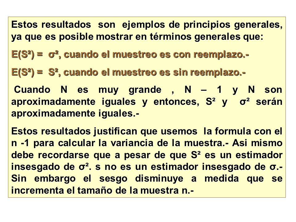 Estos resultados son ejemplos de principios generales, ya que es posible mostrar en términos generales que: E(S²) = σ², cuando el muestreo es con reem