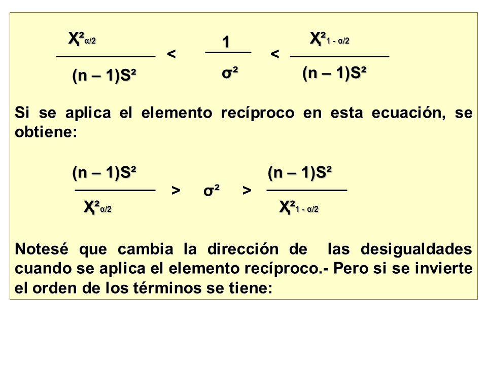 < < < < Si se aplica el elemento recíproco en esta ecuación, se obtiene: > σ² > > σ² > Notesé que cambia la dirección de las desigualdades cuando se a