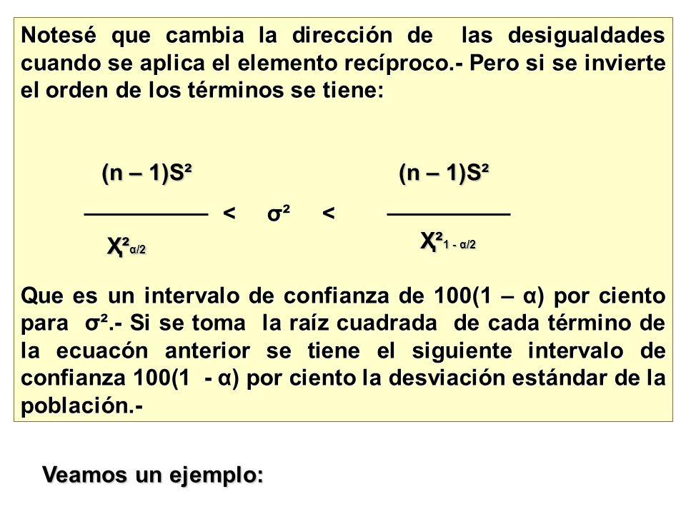 Notesé que cambia la dirección de las desigualdades cuando se aplica el elemento recíproco.- Pero si se invierte el orden de los términos se tiene: <