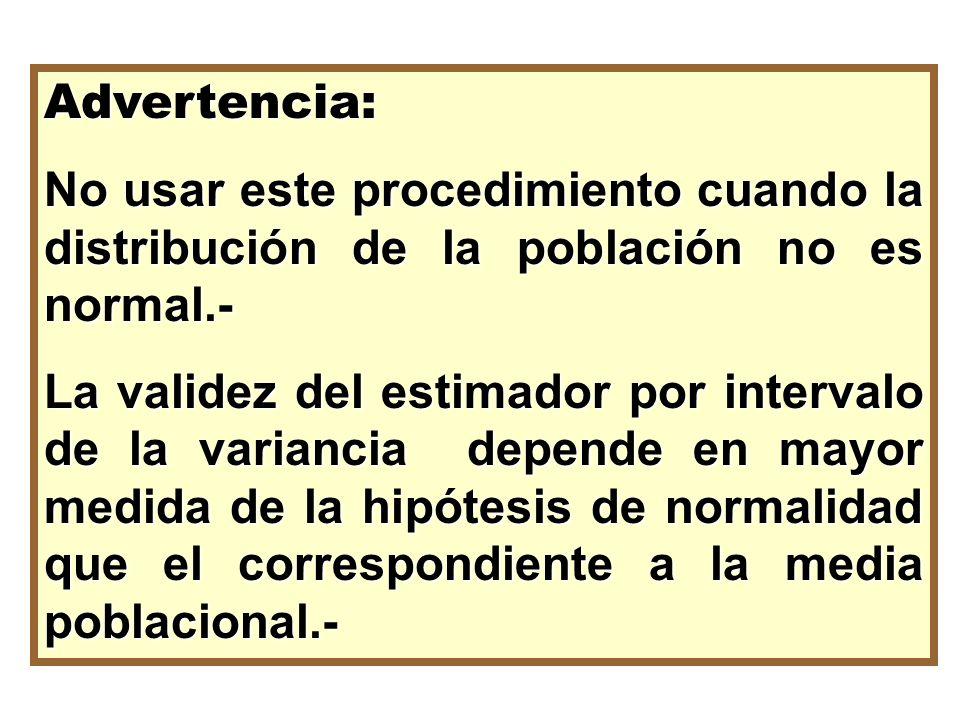 Advertencia: No usar este procedimiento cuando la distribución de la población no es normal.- La validez del estimador por intervalo de la variancia d