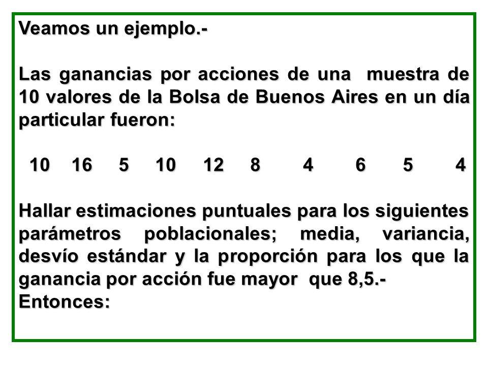 Veamos un ejemplo.- Las ganancias por acciones de una muestra de 10 valores de la Bolsa de Buenos Aires en un día particular fueron: 10 16 5 10 12 8 4