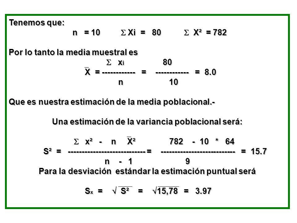 Tenemos que: n = 10 Xi = 80 X² = 782 n = 10 Xi = 80 X² = 782 Por lo tanto la media muestral es x i 80 x i 80 X = ------------ = ------------ = 8.0 X =