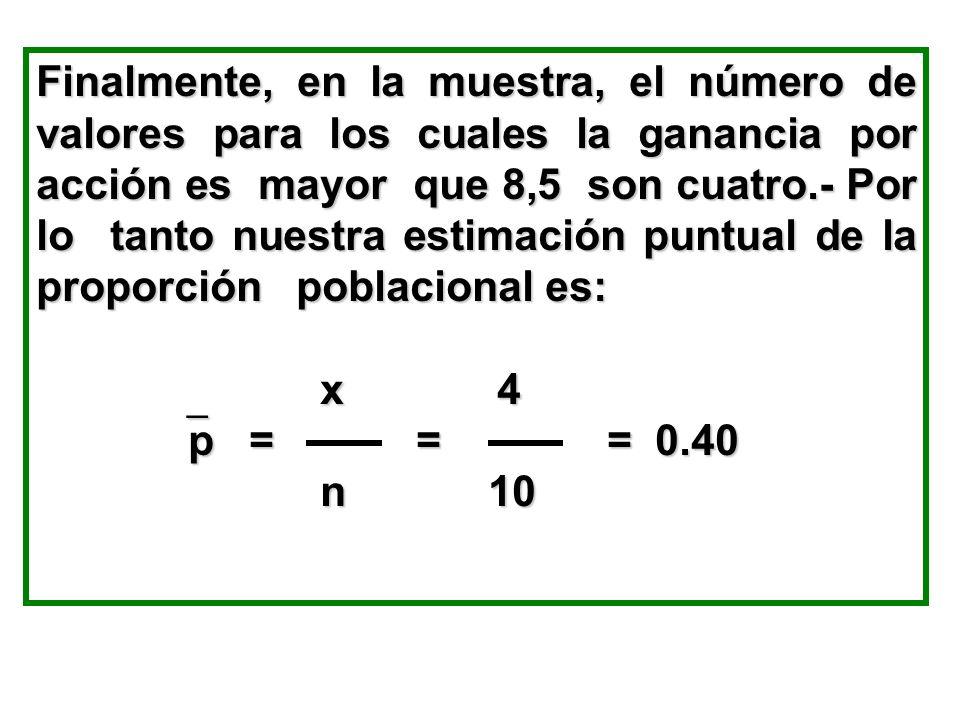 Finalmente, en la muestra, el número de valores para los cuales la ganancia por acción es mayor que 8,5 son cuatro.- Por lo tanto nuestra estimación p