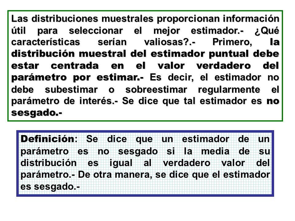 Las distribuciones muestrales proporcionan información útil para seleccionar el mejor estimador.- ¿Qué características serían valiosas?.- Primero, la