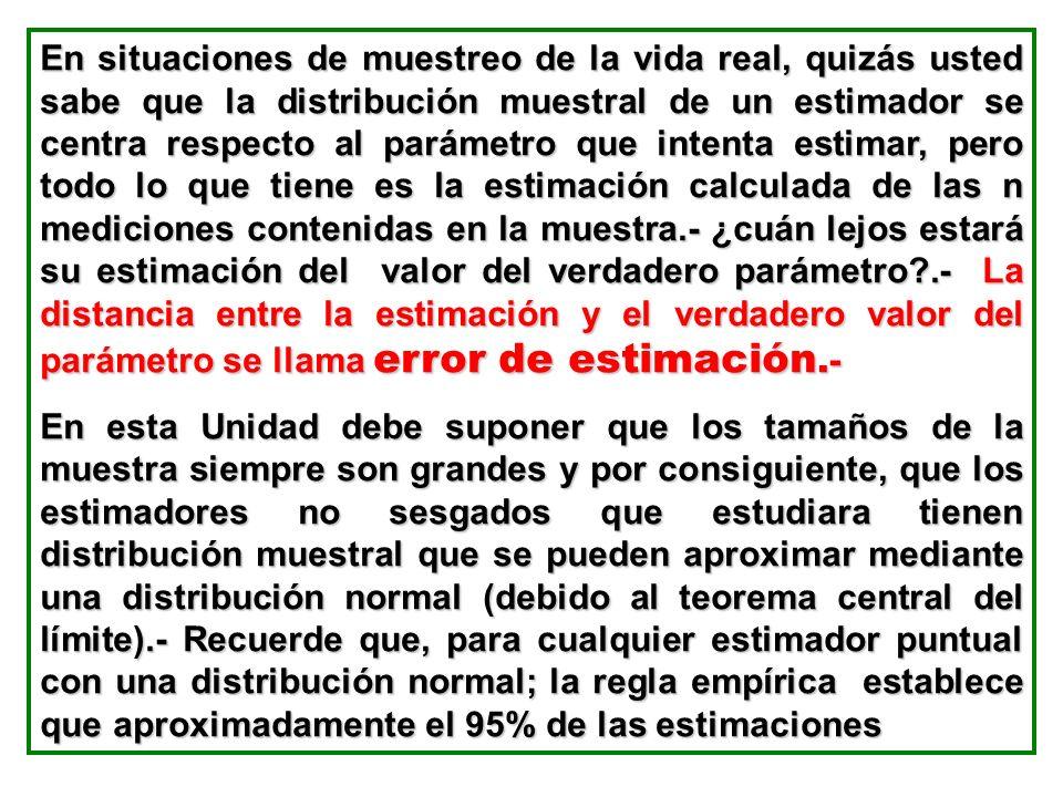 En situaciones de muestreo de la vida real, quizás usted sabe que la distribución muestral de un estimador se centra respecto al parámetro que intenta