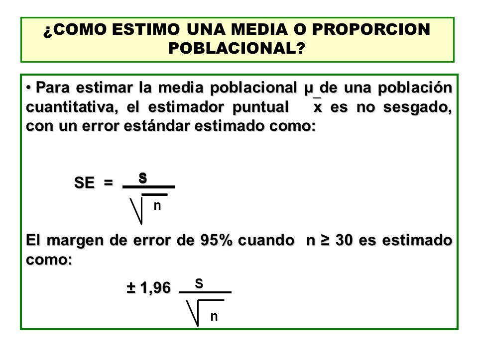 ¿COMO ESTIMO UNA MEDIA O PROPORCION POBLACIONAL? Para estimar la media poblacional μ de una población cuantitativa, el estimador puntual x es no sesga