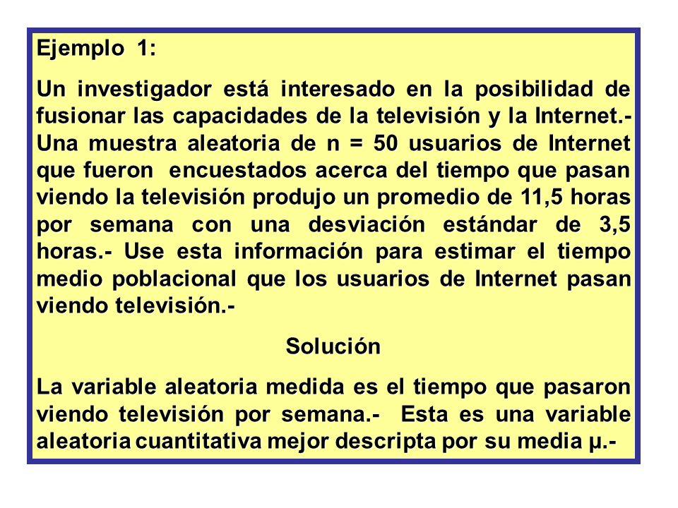 Ejemplo 1: Un investigador está interesado en la posibilidad de fusionar las capacidades de la televisión y la Internet.- Una muestra aleatoria de n =