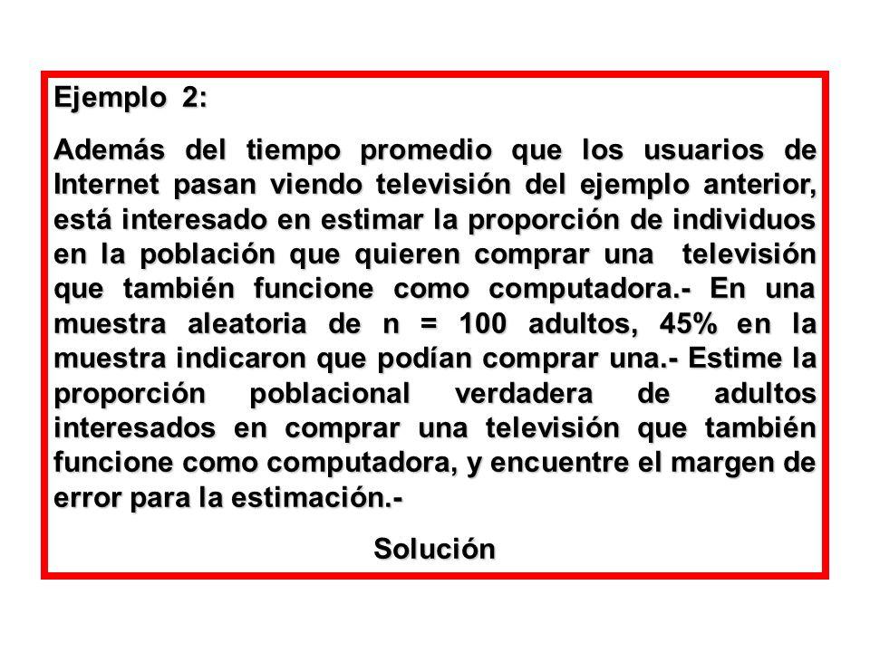 Ejemplo 2: Además del tiempo promedio que los usuarios de Internet pasan viendo televisión del ejemplo anterior, está interesado en estimar la proporc