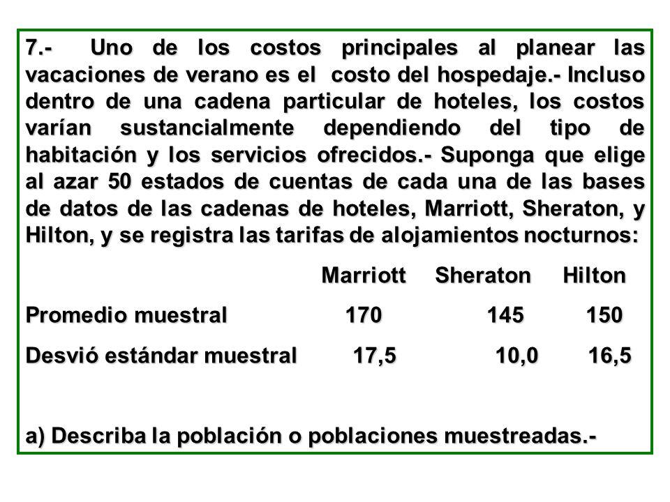 7.- Uno de los costos principales al planear las vacaciones de verano es el costo del hospedaje.- Incluso dentro de una cadena particular de hoteles,