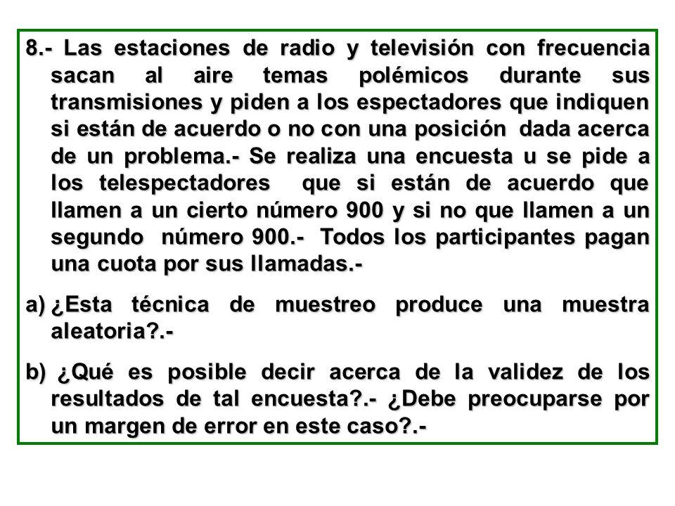 8.- Las estaciones de radio y televisión con frecuencia sacan al aire temas polémicos durante sus transmisiones y piden a los espectadores que indique