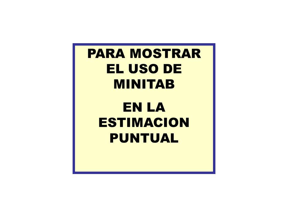 PARA MOSTRAR EL USO DE MINITAB EN LA ESTIMACION PUNTUAL