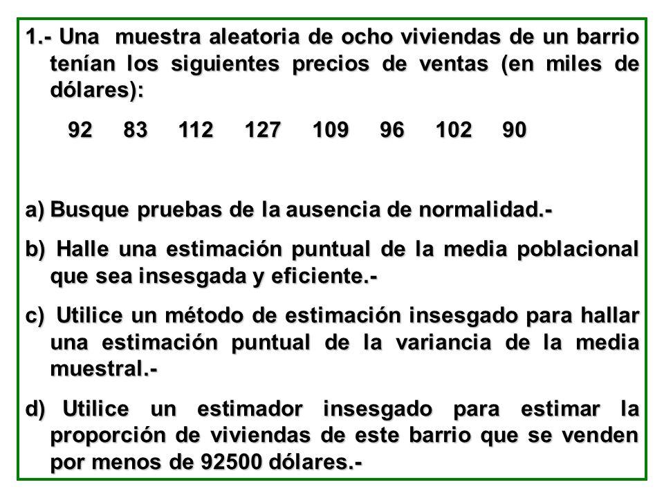 1.- Una muestra aleatoria de ocho viviendas de un barrio tenían los siguientes precios de ventas (en miles de dólares): 92 83 112 127 109 96 102 90 92