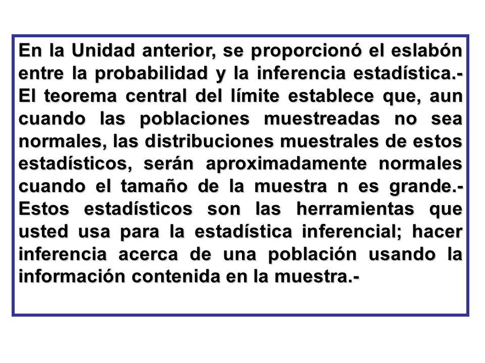 En la Unidad anterior, se proporcionó el eslabón entre la probabilidad y la inferencia estadística.- El teorema central del límite establece que, aun