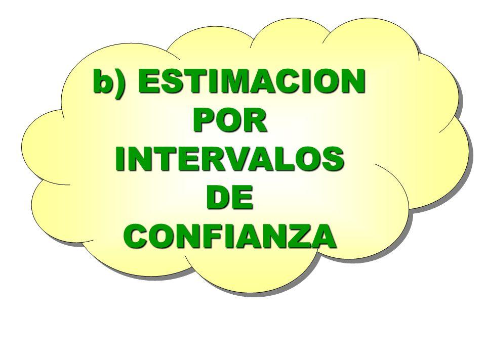 b) ESTIMACION POR INTERVALOS DE CONFIANZA b) ESTIMACION POR INTERVALOS DE CONFIANZA