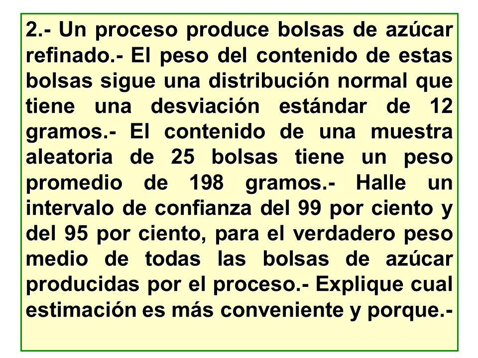 2.- Un proceso produce bolsas de azúcar refinado.- El peso del contenido de estas bolsas sigue una distribución normal que tiene una desviación estánd