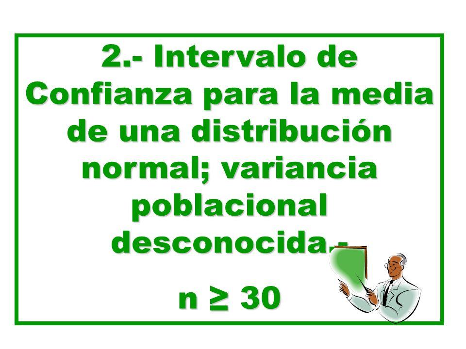 2.- Intervalo de Confianza para la media de una distribución normal; variancia poblacional desconocida.- n 30
