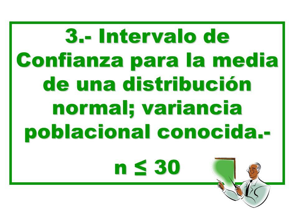 3.- Intervalo de Confianza para la media de una distribución normal; variancia poblacional conocida.- n 30