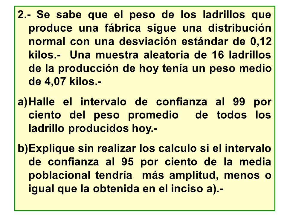 2.- Se sabe que el peso de los ladrillos que produce una fábrica sigue una distribución normal con una desviación estándar de 0,12 kilos.- Una muestra
