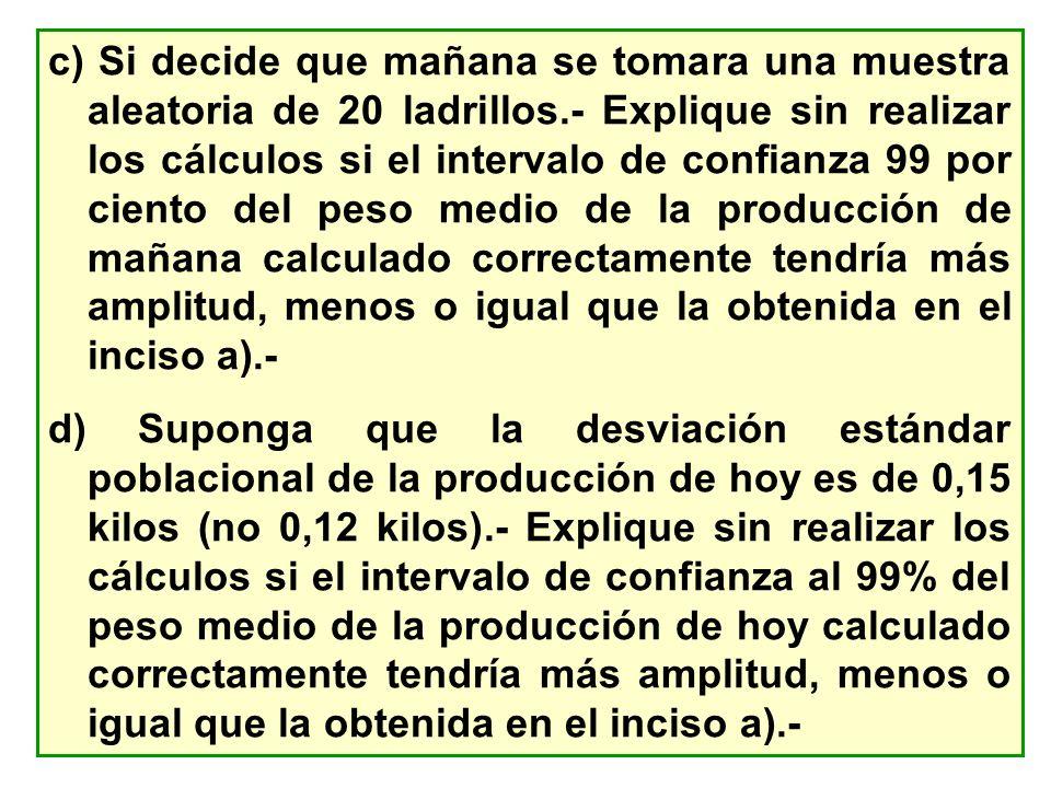 c) Si decide que mañana se tomara una muestra aleatoria de 20 ladrillos.- Explique sin realizar los cálculos si el intervalo de confianza 99 por cient