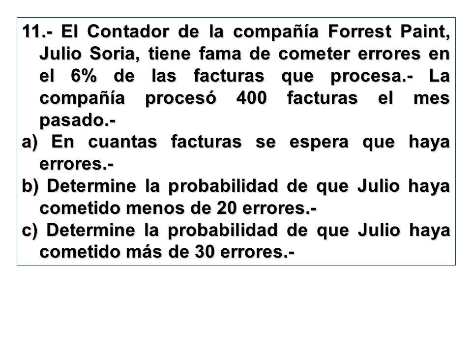 11.- El Contador de la compañía Forrest Paint, Julio Soria, tiene fama de cometer errores en el 6% de las facturas que procesa.- La compañía procesó 4