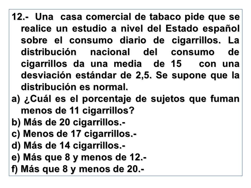 12.- Una casa comercial de tabaco pide que se realice un estudio a nivel del Estado español sobre el consumo diario de cigarrillos. La distribución na