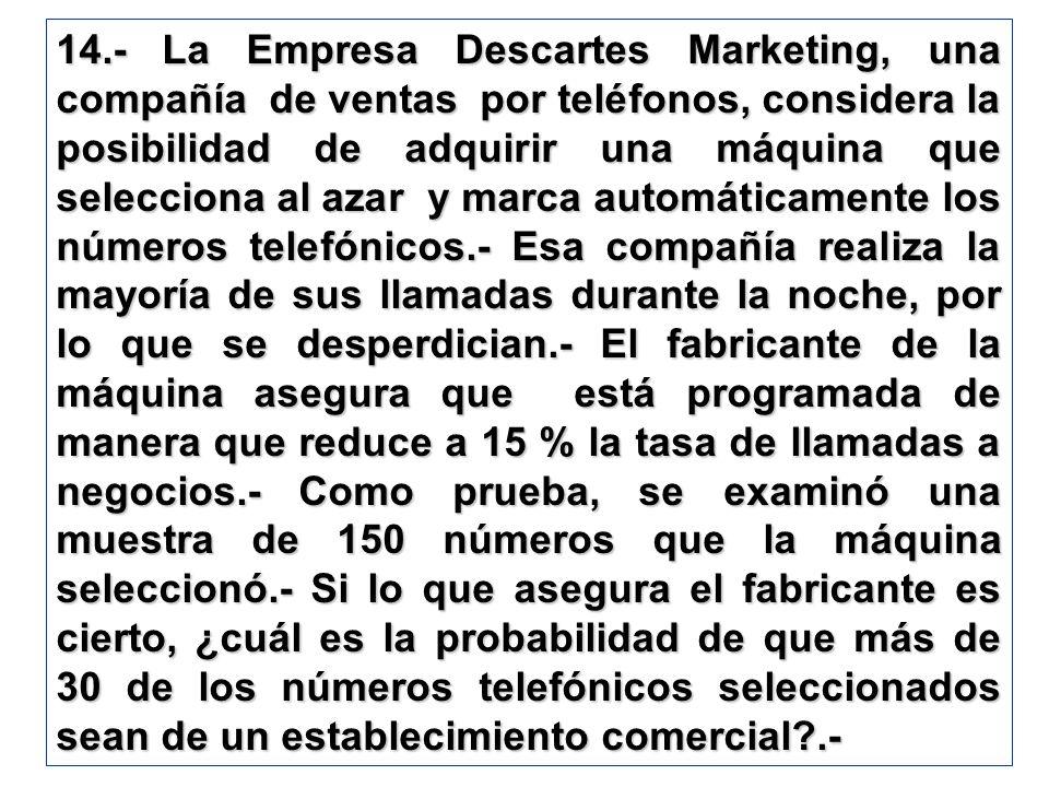 14.- La Empresa Descartes Marketing, una compañía de ventas por teléfonos, considera la posibilidad de adquirir una máquina que selecciona al azar y m