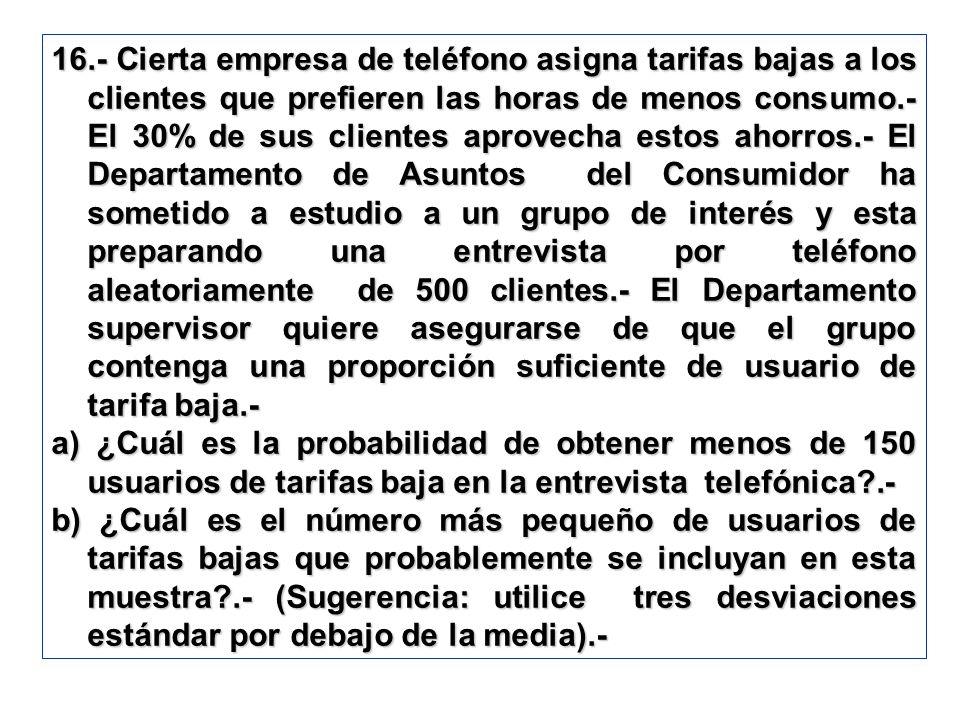 16.- Cierta empresa de teléfono asigna tarifas bajas a los clientes que prefieren las horas de menos consumo.- El 30% de sus clientes aprovecha estos