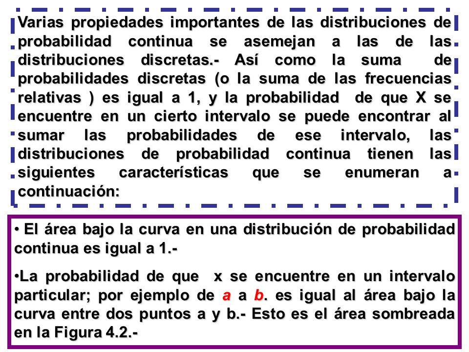 Varias propiedades importantes de las distribuciones de probabilidad continua se asemejan a las de las distribuciones discretas.- Así como la suma de