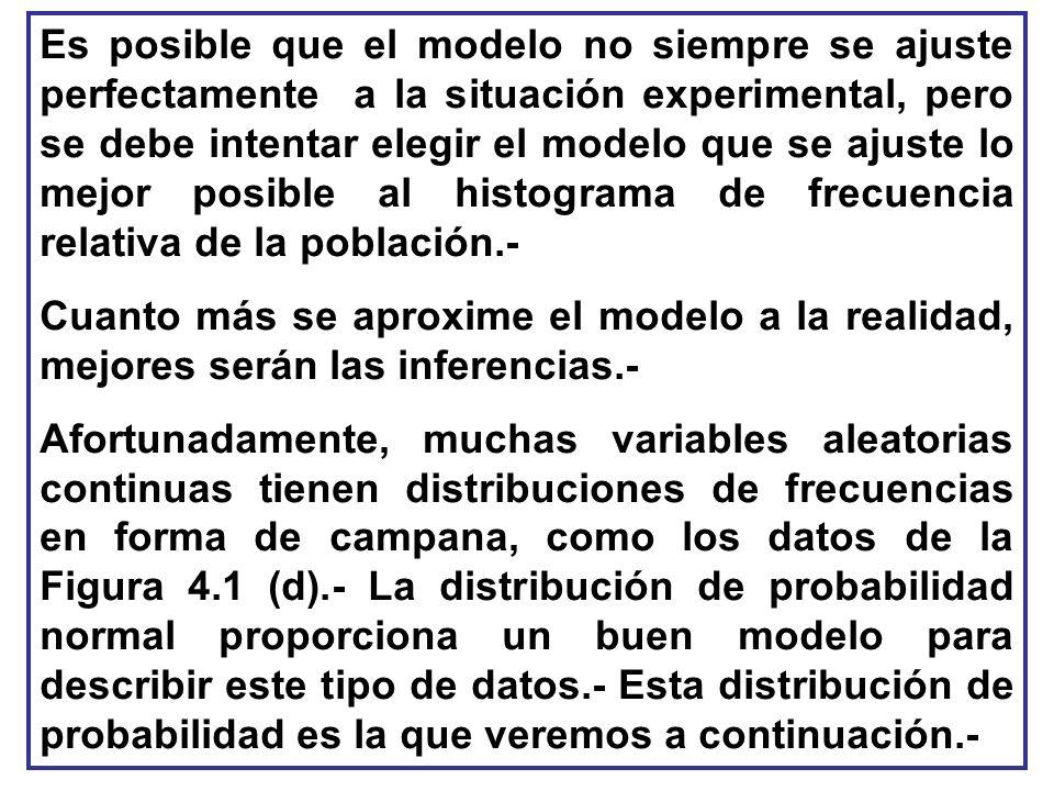Es posible que el modelo no siempre se ajuste perfectamente a la situación experimental, pero se debe intentar elegir el modelo que se ajuste lo mejor