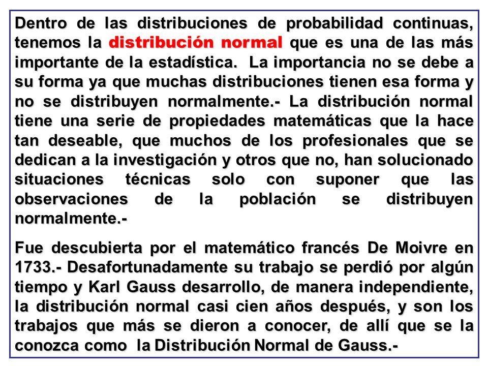 Dentro de las distribuciones de probabilidad continuas, tenemos la distribución normal que es una de las más importante de la estadística. La importan