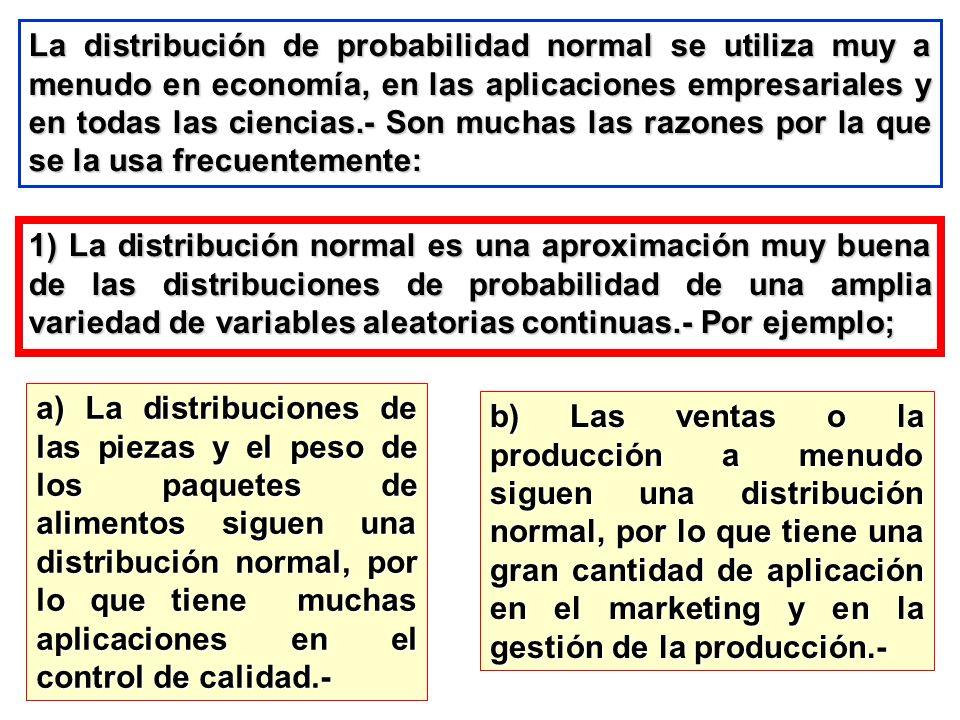 La distribución de probabilidad normal se utiliza muy a menudo en economía, en las aplicaciones empresariales y en todas las ciencias.- Son muchas las