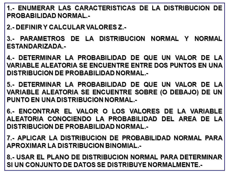 1.- ENUMERAR LAS CARACTERISTICAS DE LA DISTRIBUCION DE PROBABILIDAD NORMAL.- 2.- DEFINIR Y CALCULAR VALORES Z.- 3.- PARAMETROS DE LA DISTRIBUCION NORM