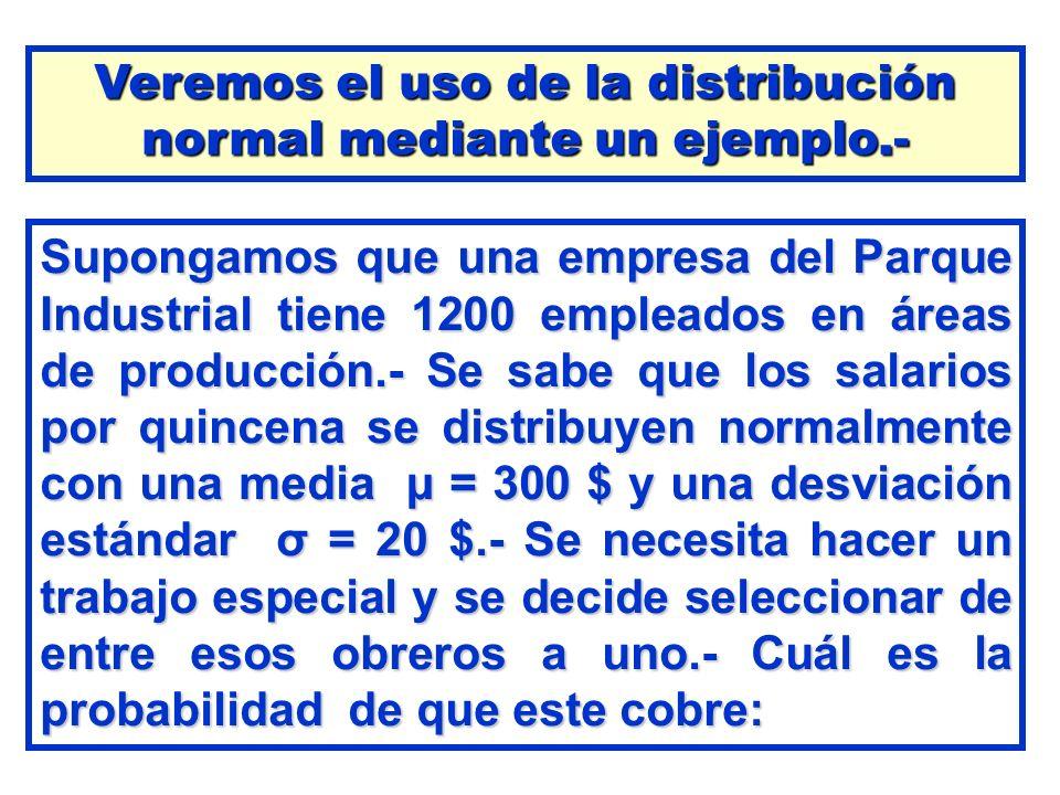 Supongamos que una empresa del Parque Industrial tiene 1200 empleados en áreas de producción.- Se sabe que los salarios por quincena se distribuyen no