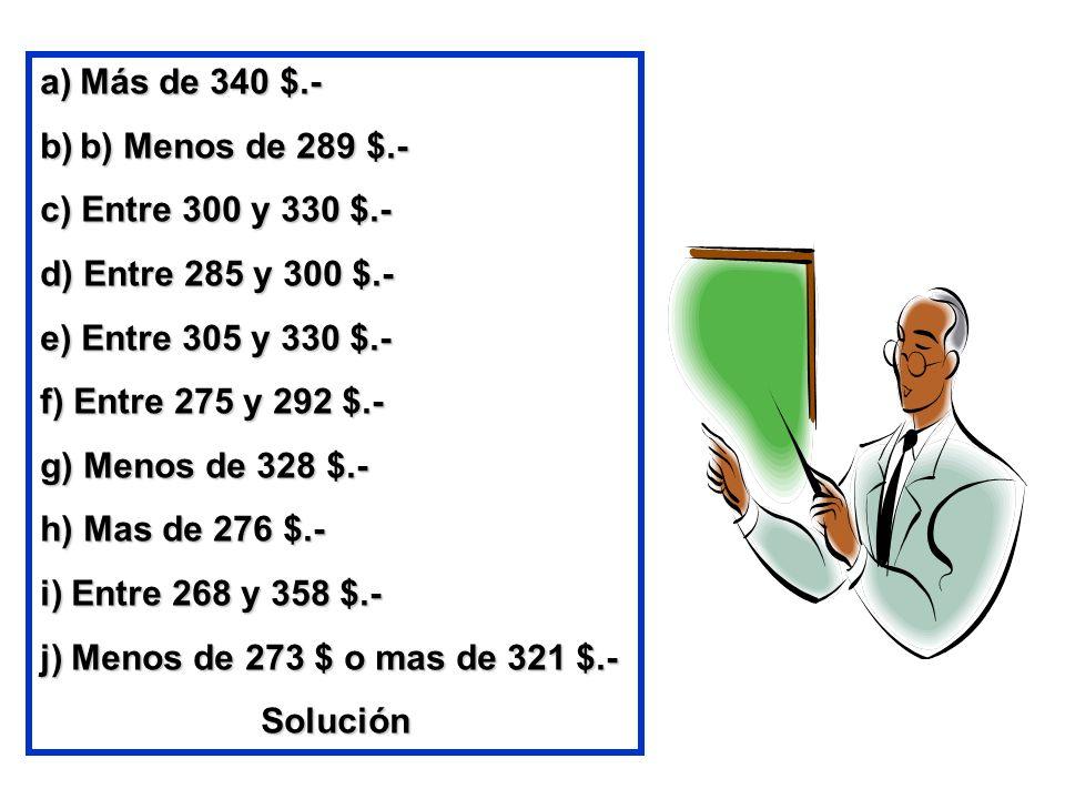 a)Más de 340 $.- b)b) Menos de 289 $.- c) Entre 300 y 330 $.- d) Entre 285 y 300 $.- e) Entre 305 y 330 $.- f) Entre 275 y 292 $.- g) Menos de 328 $.-