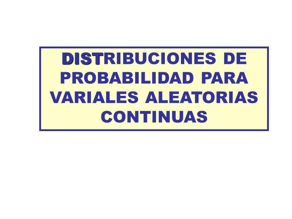 DIST DISTRIBUCIONES DE PROBABILIDAD PARA VARIALES ALEATORIAS CONTINUAS
