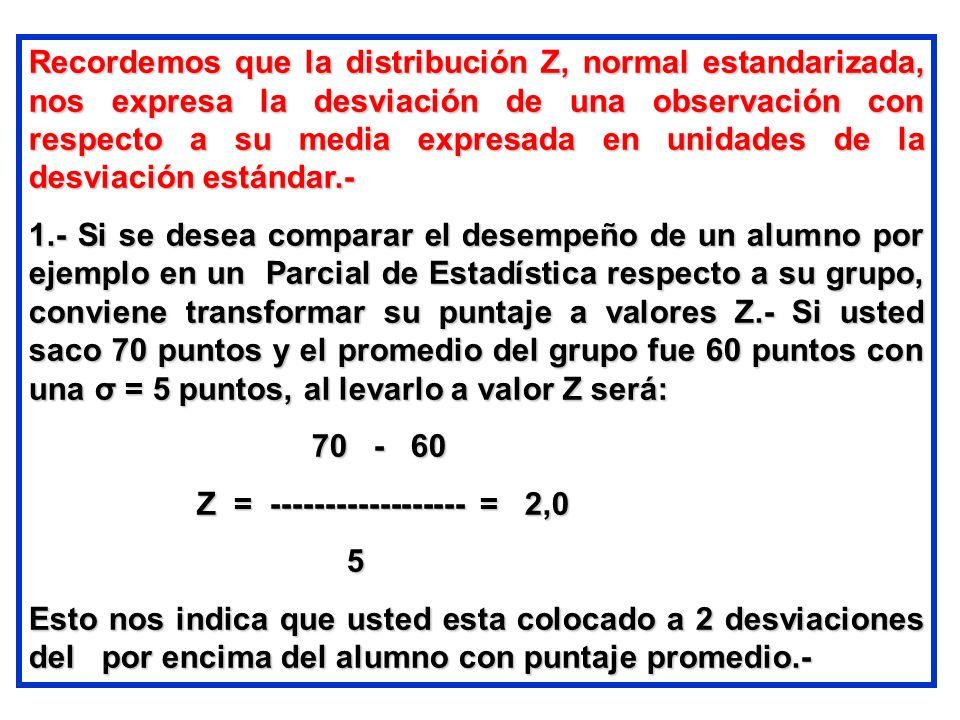Recordemos que la distribución Z, normal estandarizada, nos expresa la desviación de una observación con respecto a su media expresada en unidades de