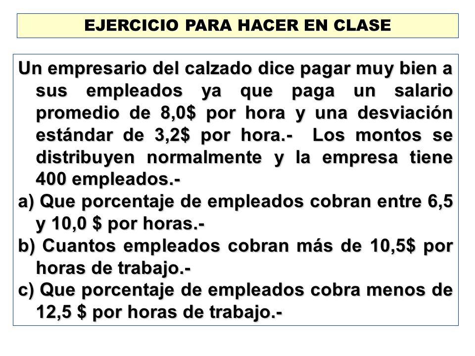 EJERCICIO PARA HACER EN CLASE Un empresario del calzado dice pagar muy bien a sus empleados ya que paga un salario promedio de 8,0$ por hora y una des