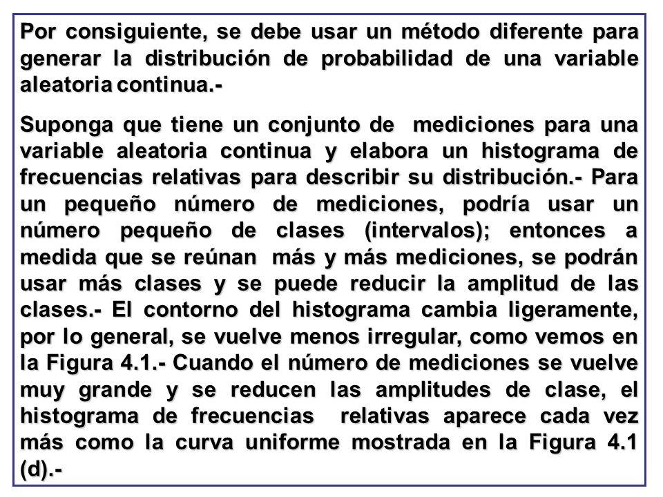 Por consiguiente, se debe usar un método diferente para generar la distribución de probabilidad de una variable aleatoria continua.- Suponga que tiene