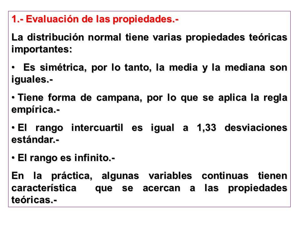 1.- Evaluación de las propiedades.- La distribución normal tiene varias propiedades teóricas importantes: Es simétrica, por lo tanto, la media y la me