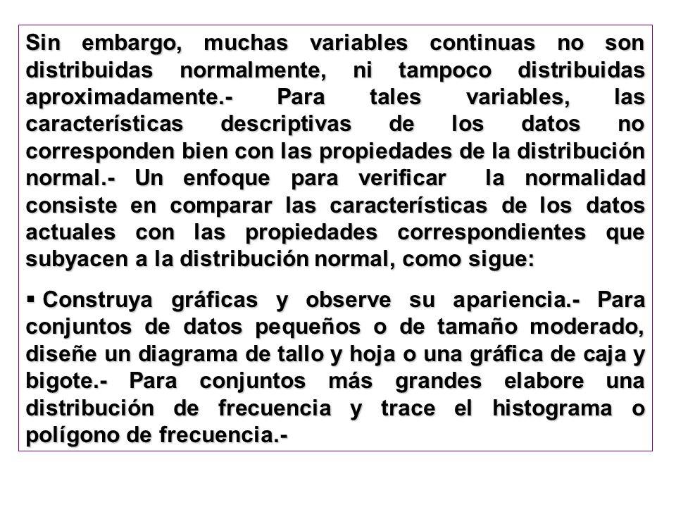Sin embargo, muchas variables continuas no son distribuidas normalmente, ni tampoco distribuidas aproximadamente.- Para tales variables, las caracterí
